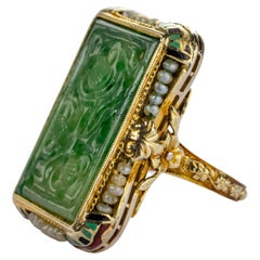 1920's Carved Jade Ring with Natural Pearls & Enameling Certified Untreated