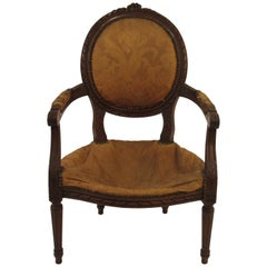1920s Carved Wood French Armchair