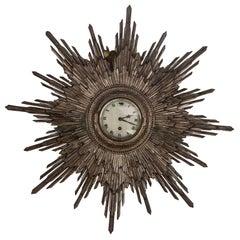 1920s Carved Wood Silver Leafed Sunburst Clock