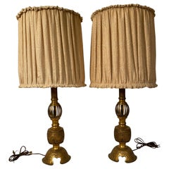 1920s Cast Brass Japanese Lamps
