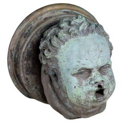1920s Cast Bronze Cherub Head
