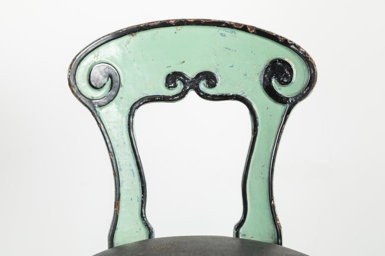 1920s Cast Iron American Soda Fountain Chairs Set of Four In Fair Condition For Sale In Santa Monica, CA