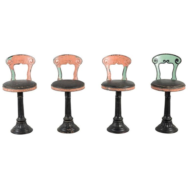 1920s Cast Iron American Soda Fountain Chairs Set of Four For Sale