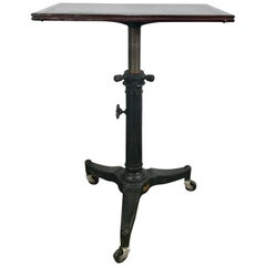 1920s Cast Iron and Wood Industrial Adjustable Table by Karl Manufacturing Co.