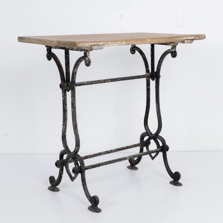 French Provincial 1920s Cast Iron French Bistro Table For Sale