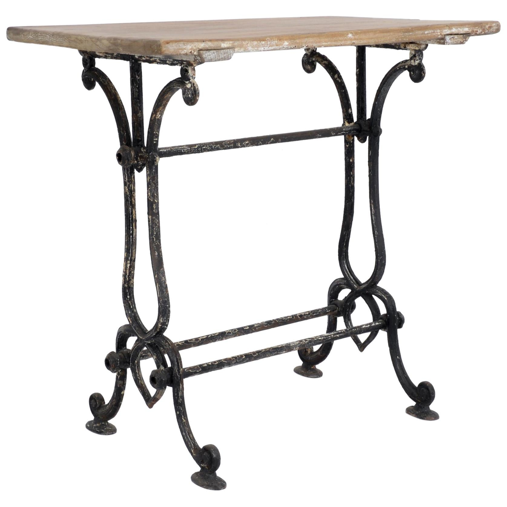 1920s Cast Iron French Bistro Table