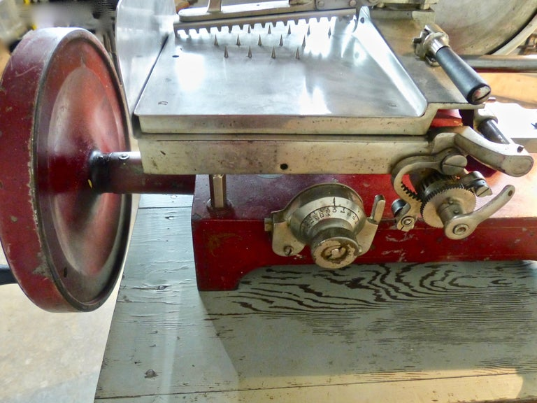 Canadian 1920s Cast Iron Hand Crank Meat Slicer For Sale