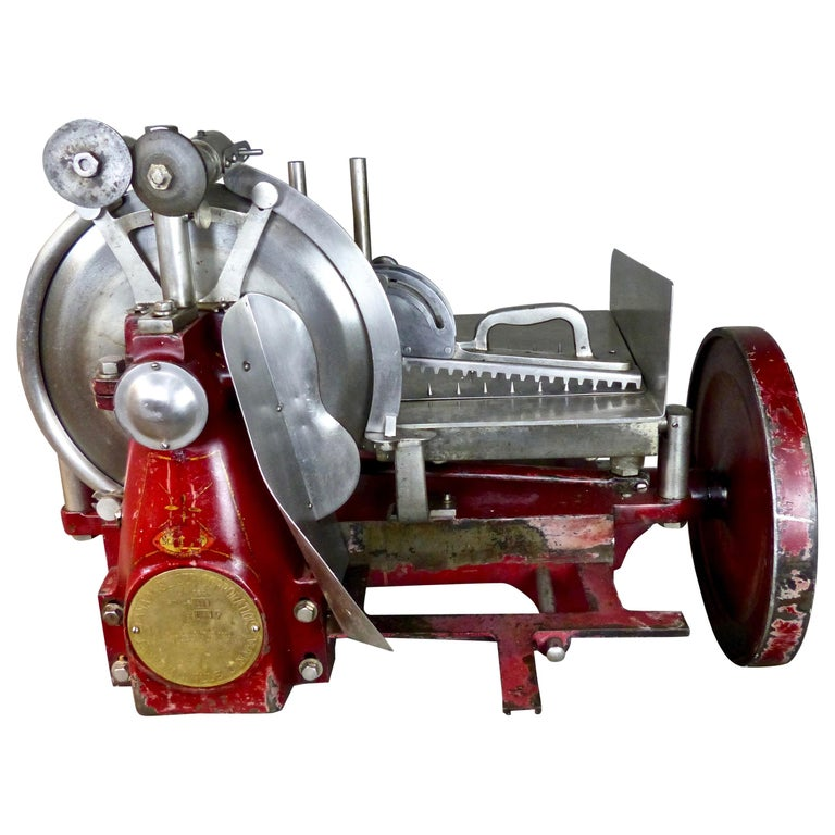 1920s Cast Iron Hand Crank Meat Slicer For Sale