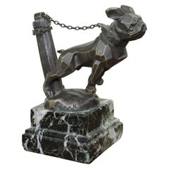 1920s Chained French Bulldog Radiator Car Mascot, Hood Ornament Art Deco