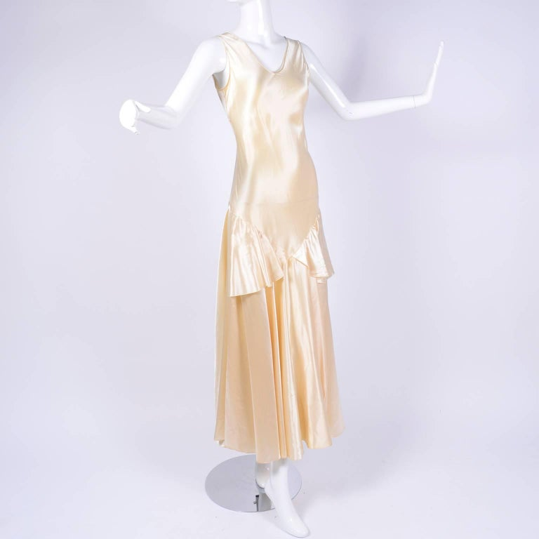 Vintage Wedding Dresses For Sale: 1920s Champagne Satin Wedding Gown Sleeveless Silk Dress