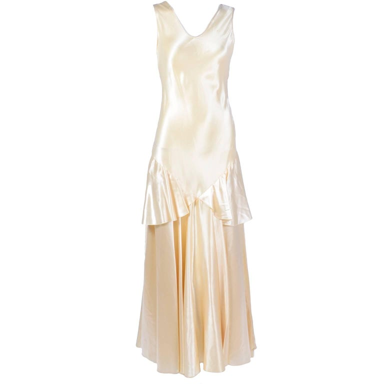 1920s Champagne Satin Wedding Gown Sleeveless Silk Dress For Sale at ...