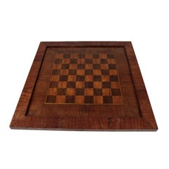 1920s Chess and Play Board, Mahogany and Rosewood Veneer & Marquetry, Red Brown