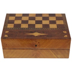 1920s Chess and Play Casket, Mahogany and Maple Veneer and Marquetry, Red Brown