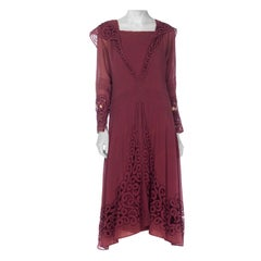 1920S Maroon Silk Chiffon Long Sleeve Day Dress With Spiral Cutouts And Embroid