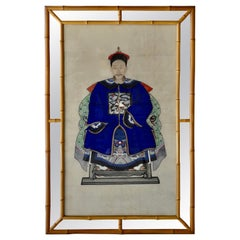 1920s Chinese Ancestor Portrait in Bamboo Frame with Mirror
