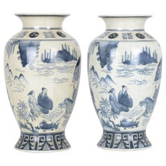 1920s Chinese Blue and White Matching Painted Vases, a Pair