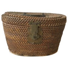 1920s Chinese Wicker and Brass Lunch Basket