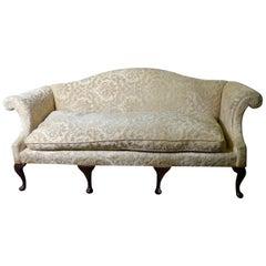 1920s Chippendale Revival Camel-Back Sofa in Cut Velvet