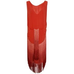 1920's Cinnamon Silk-Chiffon Sculpted Ombre Fringe Sleeveless Flapper Dress