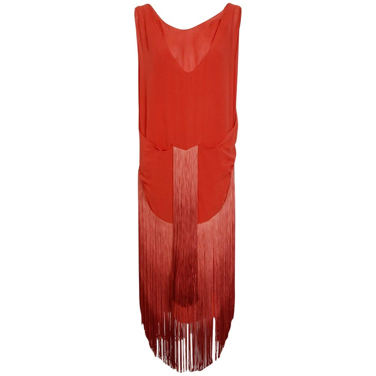 1920's Cinnamon Silk-Chiffon Sculpted Ombre Fringe Sleeveless Flapper Dress For Sale