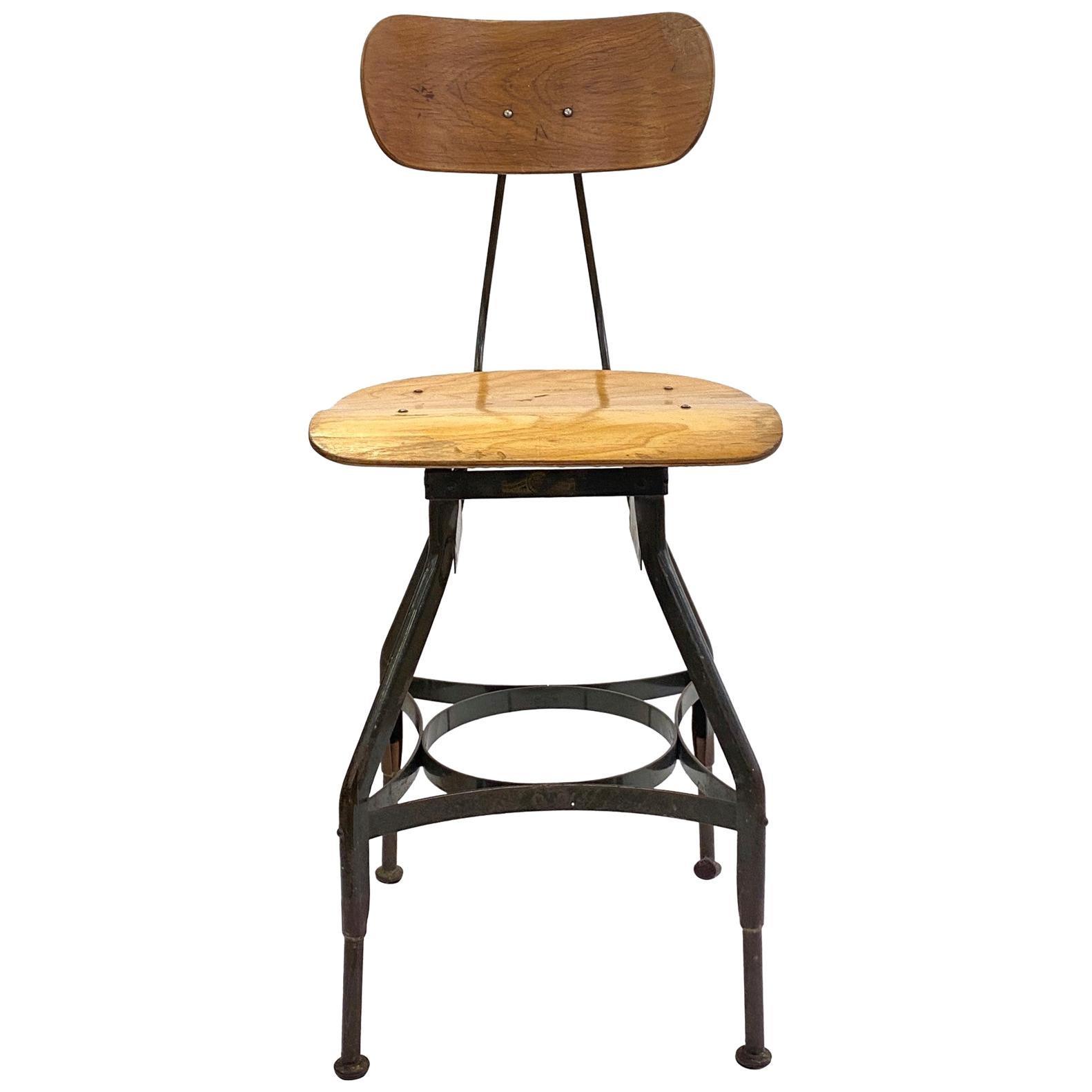 1920s Classic Vintage Industrial Bar Height Wood & Steel Adjustable Toledo Stool