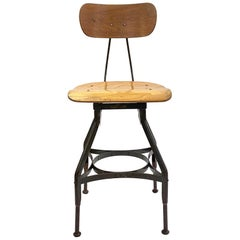 1920s Classic Vintage Industrial Bar Height Wood & Steel Adjustable Toledo Stool
