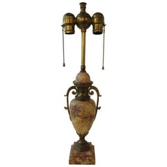 1920s Classical Marble Lamp with Brass Accents