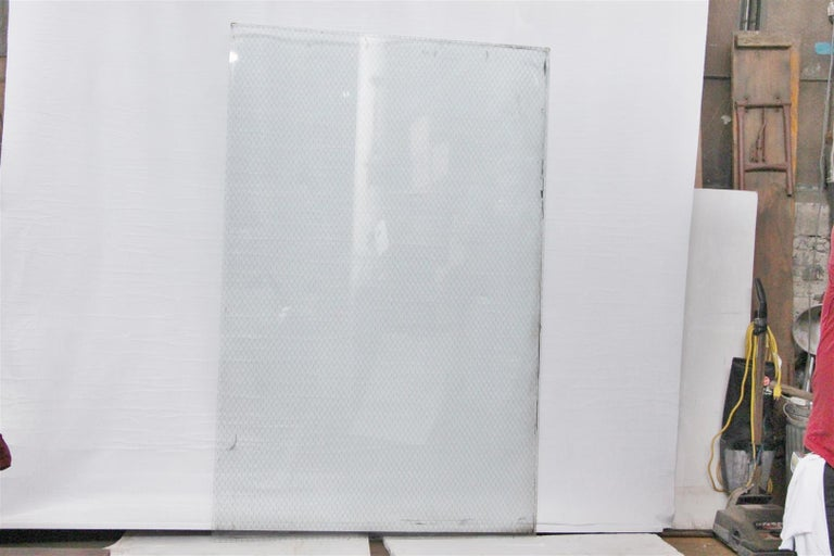 1920s Clear Industrial Chicken Wire Glass, Large Sheets Available For Sale 1