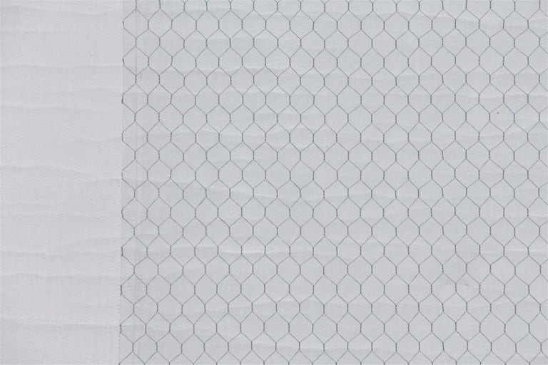 1920s Clear Industrial Chicken Wire Glass, Large Sheets Available For Sale 3
