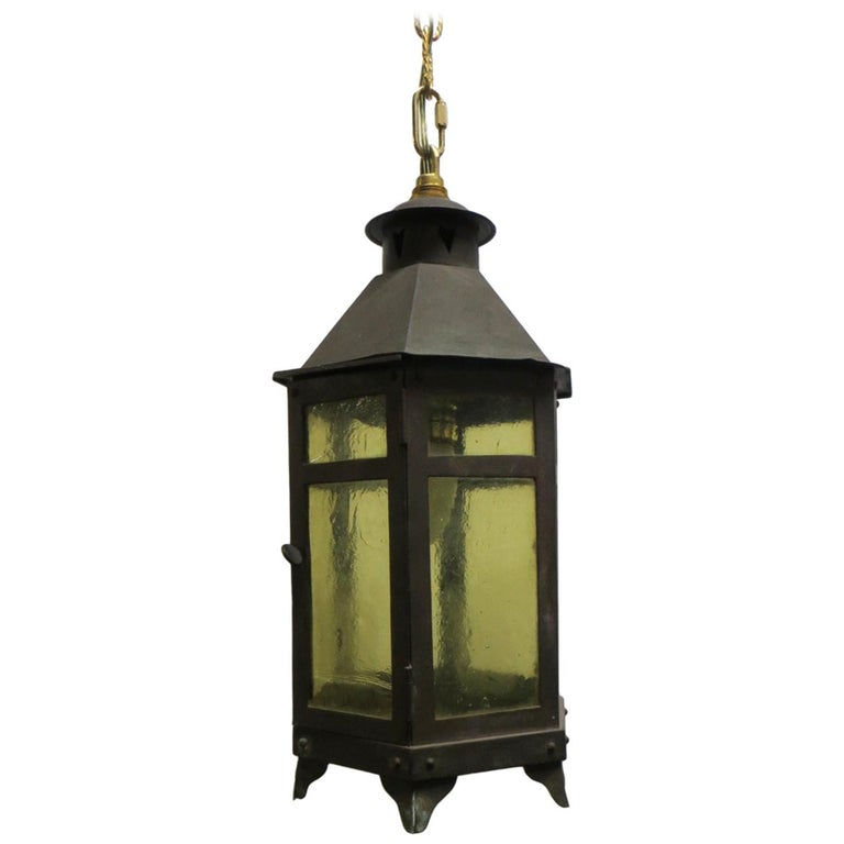 1920s Copper and Amber Glass Arts & Crafts Hanging Lantern For Sale