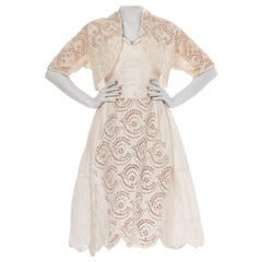 1950S Off White Strapless Dress Made From Victorian Hand Embroidered Cotton Eye