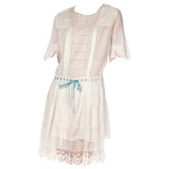Edwardian White Hand Embroidered Organic Cotton Voile Young Girls Dress With La