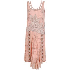 1920's Couture Pink Floral Beaded Chiffon & Metallic Gold Lamé Flapper Dress