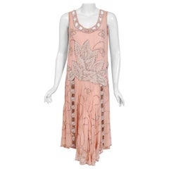 1920's Couture Pink Floral Beaded Chiffon & Metallic Gold Lamé Flapper Dress