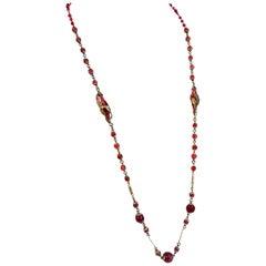 1920s Cranberry Art Glass Long Strand Necklace