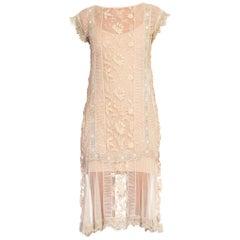 1920s Cream Cotton Lace Tea Dress With Irish Crochet Lace