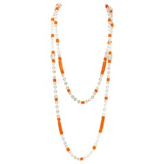 1920s Crystal and Orange Bohemian Glass Beaded Necklace