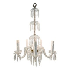 1920s Crystal Chandelier with 5 Arms and Long Crystals