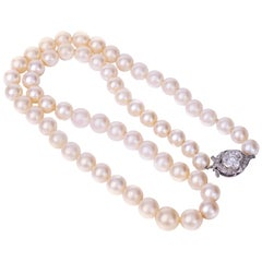 1920s Cultured Pearl Necklace with Diamond Clasp
