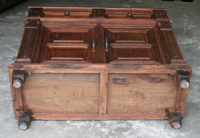 1920s Custom Made Solid Teak Wood Elegant Vanity from a French Colonial Home For Sale 3