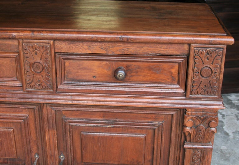 French Provincial 1920s Custom Made Solid Teak Wood Elegant Vanity from a French Colonial Home For Sale