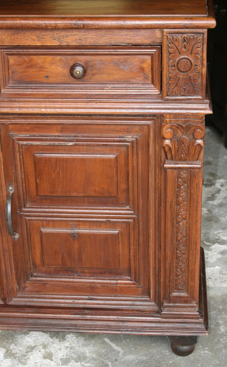 Indian 1920s Custom Made Solid Teak Wood Elegant Vanity from a French Colonial Home For Sale