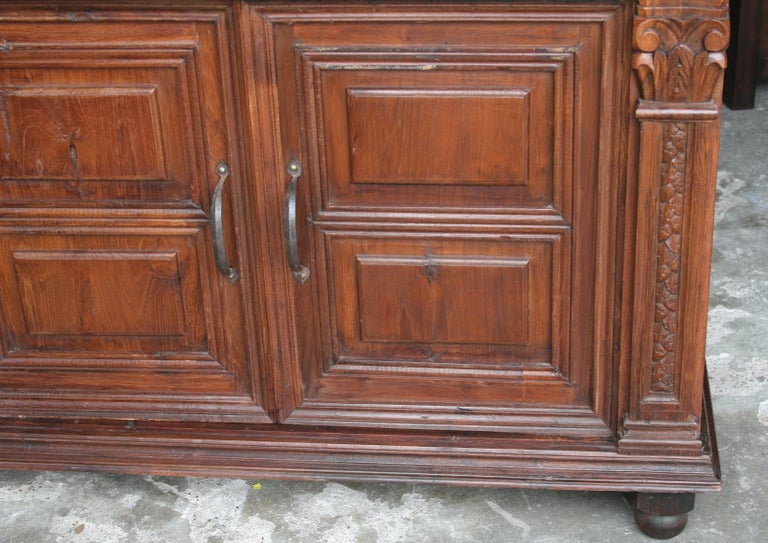 Hand-Crafted 1920s Custom Made Solid Teak Wood Elegant Vanity from a French Colonial Home For Sale