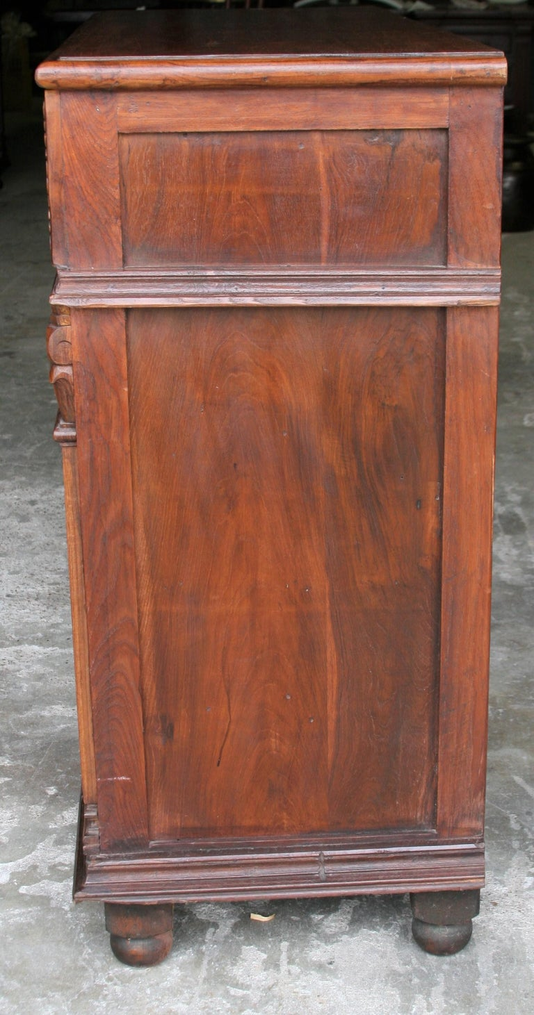 20th Century 1920s Custom Made Solid Teak Wood Elegant Vanity from a French Colonial Home For Sale