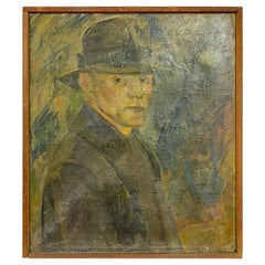 1920s Danish Oil Portrait of a Man Painting on Canvas