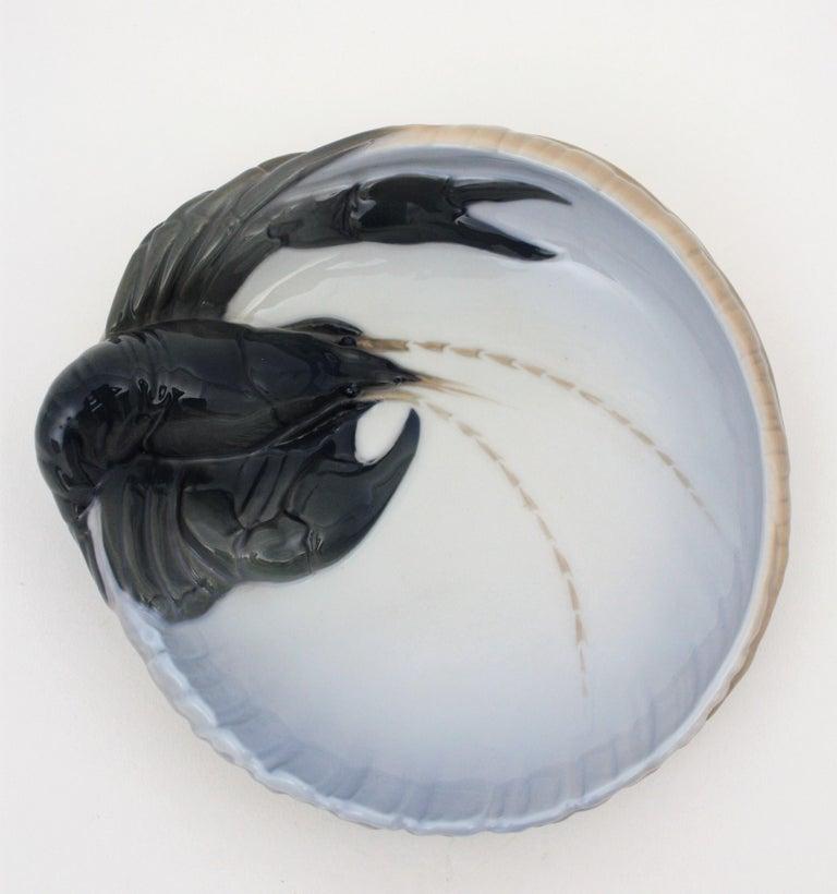 Art Deco 1920s Danish Original Royal Copenhagen Porcelain Lobster Bowl or Ashtray For Sale