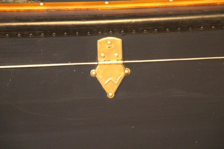 1920s Dark Blue Moynat Steamer Trunk, Moynat Trunk, Moynat Steamer Trunk For Sale 4