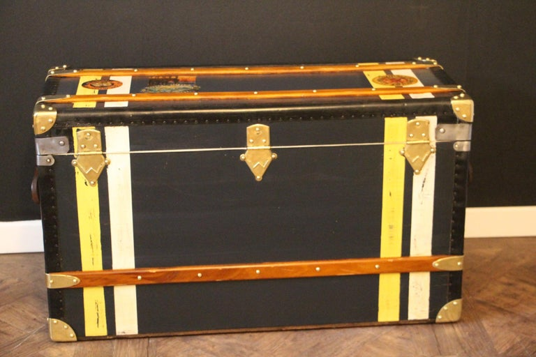 1920s Dark Blue Moynat Steamer Trunk, Moynat Trunk, Moynat Steamer Trunk For Sale 5