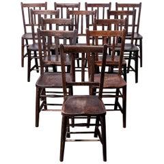 1920s Dark Elm Church, Chapel Dining Chairs, Set of Eight