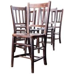 1920s Dark Elm Church, Chapel Dining Chairs, Set of Six
